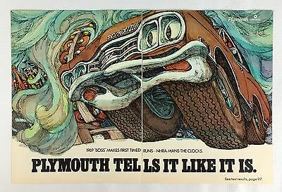 Vintage 1969 Original Print 2-Page Ad PLYMOUTH BOSS ~Psychedelic Art~