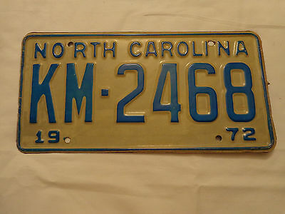 North Carolina NC Metal 1972  License Plate 72 Car Tag KM 2468 Green on White