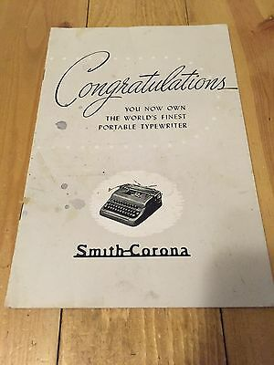 Vintage 1956 Original Smith-Corona Owner Guide & Touch Chart - FREE SHIPPING