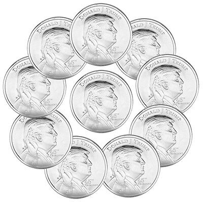 Lot of 10 Elemetal Mint Donald Trump 1 oz Silver Rounds Made in the USA SKU45787