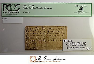 EF40 1771 1 Pound North Carolina Colonial Currency - PCGS Graded *560