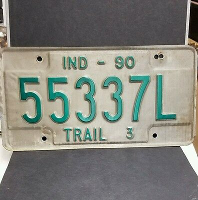 "Vintage 1990 Indiana ""TRAIL 3"" License Plate"