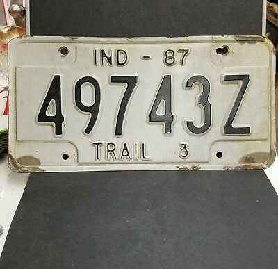 "Vintage 1987 Indiana ""TRAIL 3"" License Plate"