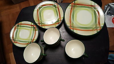 Vintage Setting for 6 Tam O' Shanter Vernonware Dinner/Salad Plates, Cup/Saucers