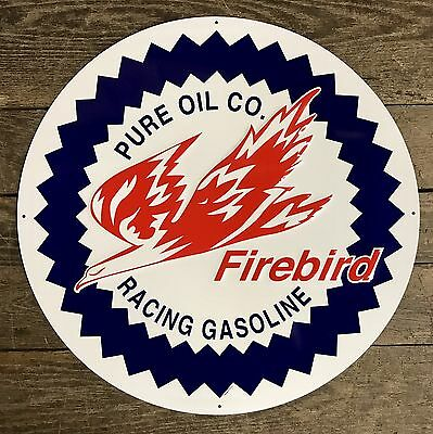 "Pure Oil Co. FIREBIRD Racing Gasoline Vintage 24"" Circular Tin Metal Sign"