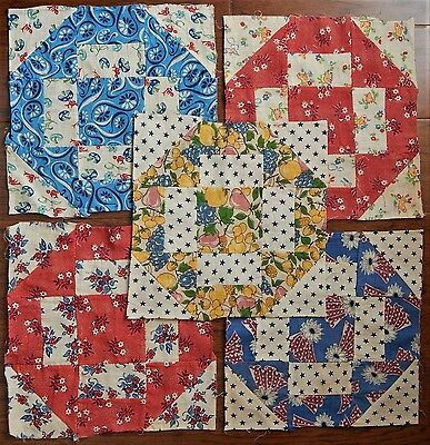 20 Antique Feed Sack Quilt Squares matching hand sewn
