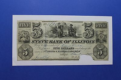 1841's $5 State Bank of Illinois Lockport Obsolete Currency Canal Fund
