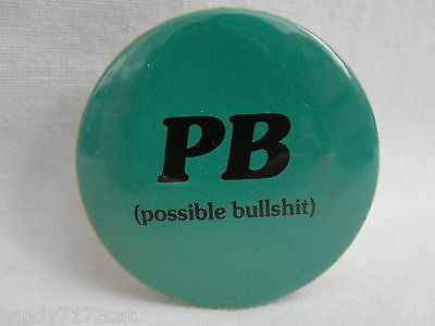 Pinback Button P B Possible Bull S h  t  1980s Vintage Humor Funny Badge Pin 1