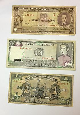 Paper money Lot World Banknotes Bolivia 1911 - 1982