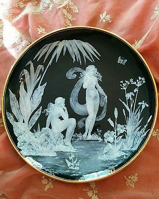 George Jones Pate sur pate pottery plate two maidens nymphs signed Schenck 1880