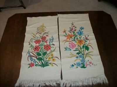 Vintage French Painted Wool Cafe Curtain Panels Chic Shabby Floral Fringe Rare