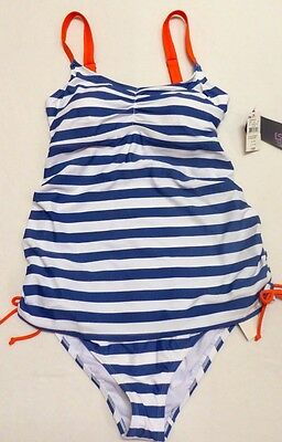 New Women Motherhood blue white stripe two piece swim bathing suit M fits 8-10