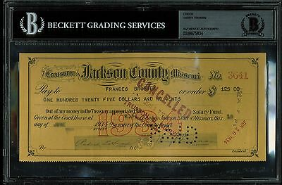 Harry Truman Signed Jackson County Missouri Check Dated June 18 1934 BAS Slabbed
