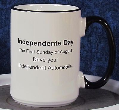 Independents Day - Packard on a 15 oz Coffee Mug with Black Handle & Rim
