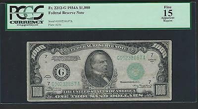 1934A $1000 One Thousand Dollar Bill Currency Cash Note Money PCGS FINE 15