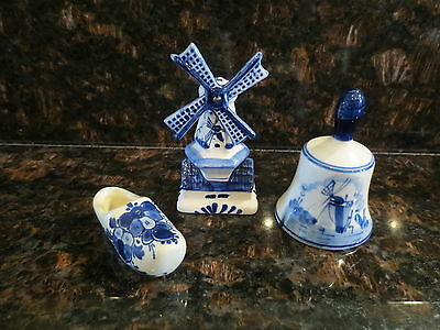 Delft Blue Vintage Miniature Pieces (3) - Bell, Shoe and Windmill