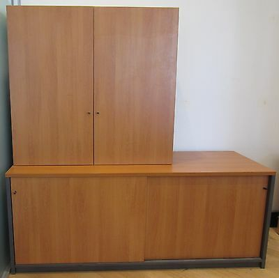 Wooden two part storage cabinet / office furniture