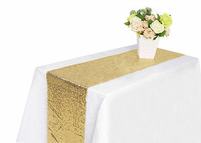 """12x108"""" Gold Sequin Table Runner Wedding Party Decorations Catering Event 1"""