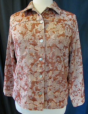 Chico's Size 3 Xl Floral Tapestry Button Down Top Fall Jacket Blazer Vguc