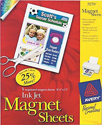 Avery Printable Inkjet Magnet Sheets 8 1/2 x 11 White 5/Pack 3270