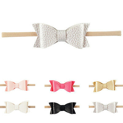 Sweet Baby Girls Toddler Kids Leather Bow Elastic Headband Hair Band Accessories