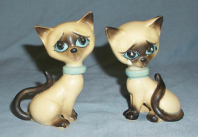 Vintage Norcrest Porcelain Sad Siamese Cat Kitten Salt & Pepper Shakers w/Tags
