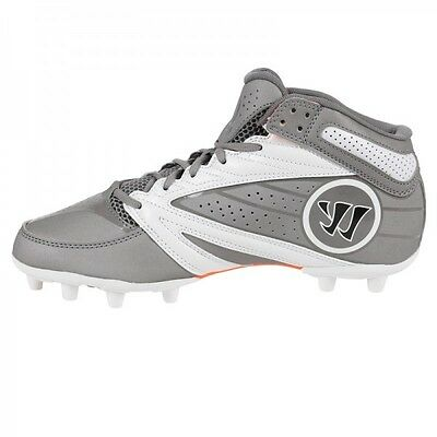 NEW Warrior Lacrosse Cleat Burn Degree 3.0 Mid men Silver WMSSM3GW SZ 12D
