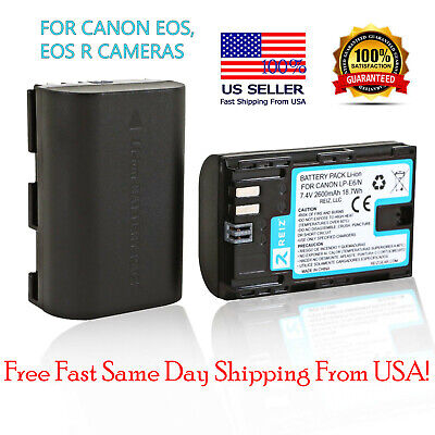 Canon LP-E6 Battery Pack EOS R 5D Mark II III IV 80D 70D 6D 7D Camera 2600mAh