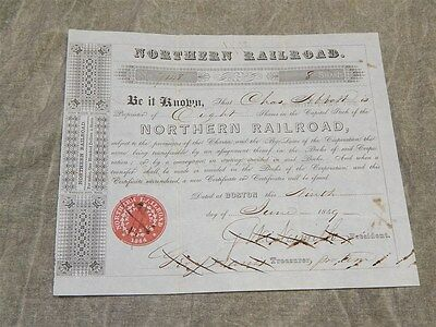 Original 1849 Northern Railroad Stock Certificate (8 shares) Excellent shape