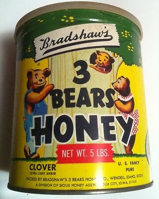Vintage Honey Tin Bradshaw's 3 Bears Can Syrup Pancakes Butter Waffles