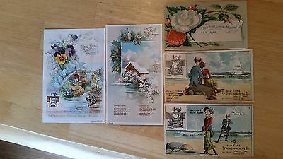 Lot of 5 Vintage New Home Sewing Machine Co. Trade Cards