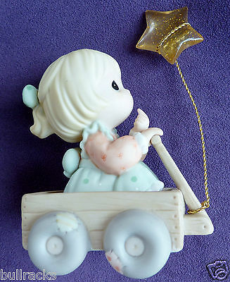 Precious Moments Porcelain Collectr Ornament Wishing World Peace Girl Wagon Star