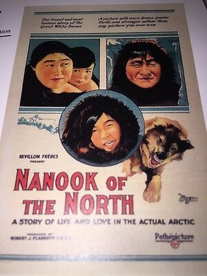 Nanook Of The North Movie Poster Book Plate A Story In The Actual Arctic 1922 +