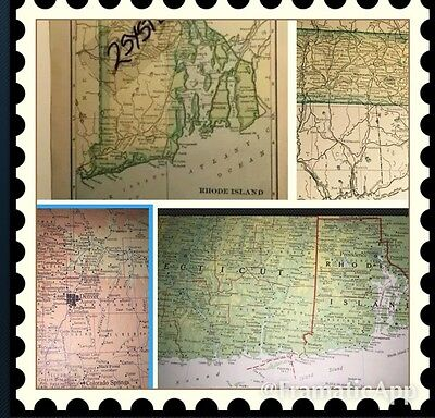 1967 & 1909 Antique MAP Connecticut & Rhode Island & Colorado & Massachusetts