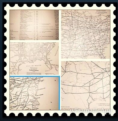 1937 3 Antique Map USA Main Railroad & Roads & Airline Routes Major Cities!