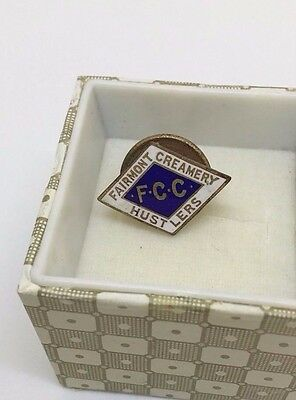 Enameled FCC Fairmont Creamery Hustlers ~ Employee Hat Pin Lapel Pin Button