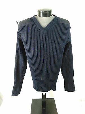 MILITARY V-NECK Sweater NATO Style Acrylic Navy Blue Large Tall