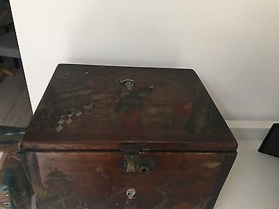 antique deco chinese wooden box