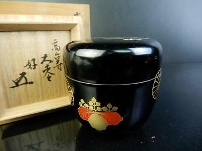 F570:Japanese Wooden Lacquer ware TEA CADDY,Nakamura Kosai made w/signed box