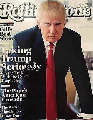 Donald Trump Signed 11x14 Photo JSA COA 2016 President 45 Rolling Stone USA MAGA