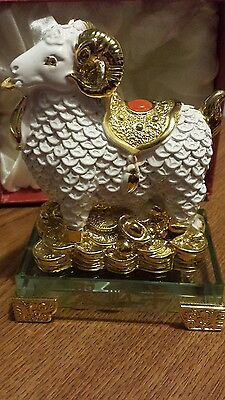 Chinese Asian gold white sheep ox animal wealth luck figurine collectible statue