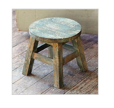 Rustic Wooden Blue Green Milking Stool~Plant Stand~Platform
