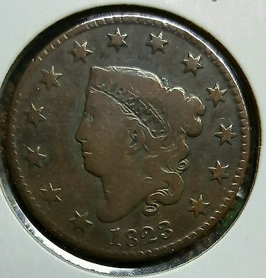 1823 Coronet Cent. Key Date! Normal Date