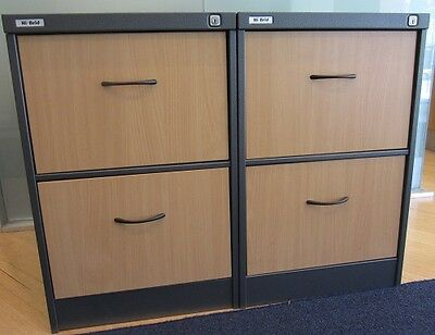 Two Wooden and Metal Two Drawer Filing Cabinets