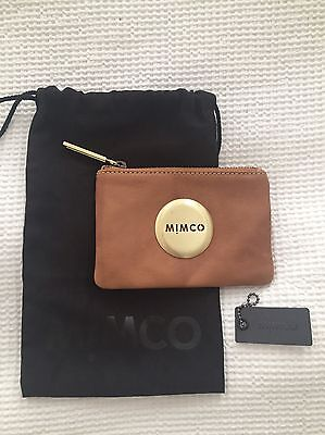 Tan & Gold Leather Mimco Pouch Wallet Purse
