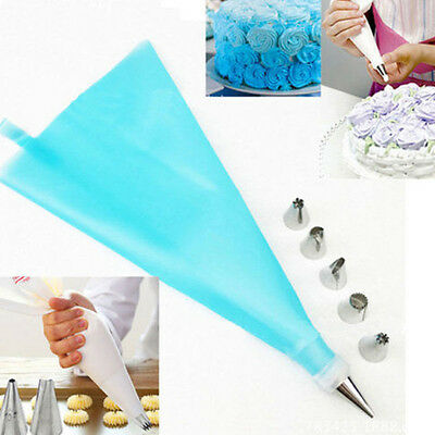 Silicone DIY Icing Piping Cream Pastry Bag + 6Nozzle Set Cake Decorating Tool SY