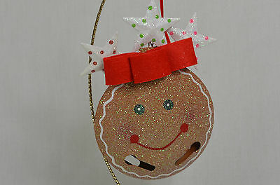 Gingerbread Bell Face with Stars ChristmasTree Ornament new