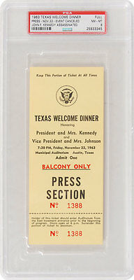 JFK – (Assassination) ORIGINAL, Texas welcome dinner ticket for JFK