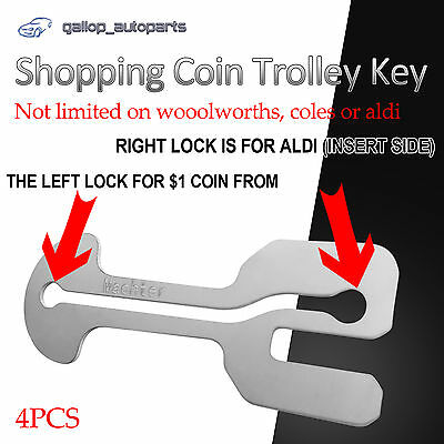 4 x REMOVEABLE AUSSIE SHOPPING COIN TROLLEY KEY , $1 COIN + ALDI STAINLESS STEEL
