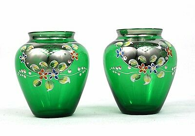 Early 20th C. Green Glass Baluster Vases Pair Hand Enamelled Silver Gilt 9 cm